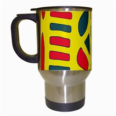 Yellow, green and red decor Travel Mugs (White)