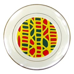 Yellow, green and red decor Porcelain Plates