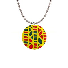 Yellow, green and red decor Button Necklaces
