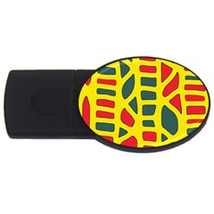 Yellow, green and red decor USB Flash Drive Oval (4 GB)