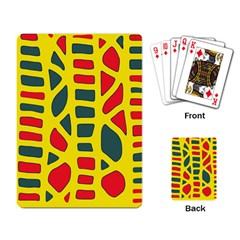 Yellow, green and red decor Playing Card