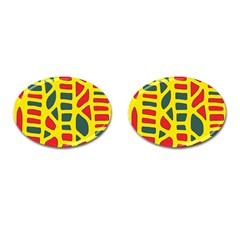 Yellow, green and red decor Cufflinks (Oval)