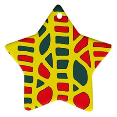 Yellow, green and red decor Star Ornament (Two Sides)