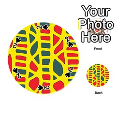 Yellow, green and red decor Playing Cards 54 (Round)