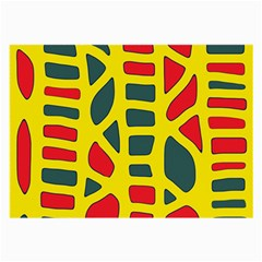 Yellow, green and red decor Large Glasses Cloth
