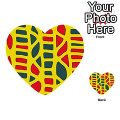 Yellow, Green And Red Decor Multi Purpose Cards (heart)
