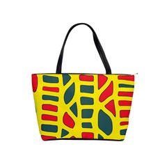 Yellow, green and red decor Shoulder Handbags
