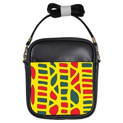 Yellow, green and red decor Girls Sling Bags