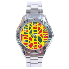 Yellow, green and red decor Stainless Steel Analogue Watch