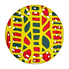 Yellow, green and red decor Ornament (Round Filigree)