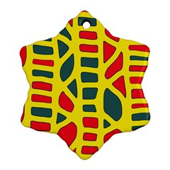 Yellow, green and red decor Snowflake Ornament (2-Side)
