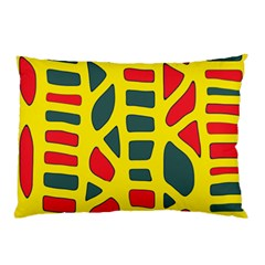 Yellow, green and red decor Pillow Case (Two Sides)