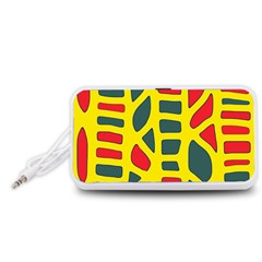 Yellow, green and red decor Portable Speaker (White)