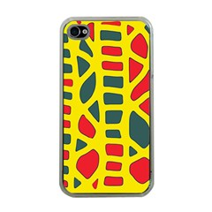 Yellow, green and red decor Apple iPhone 4 Case (Clear)
