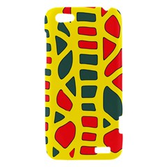 Yellow, green and red decor HTC One V Hardshell Case