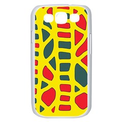 Yellow, green and red decor Samsung Galaxy S III Case (White)