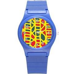 Yellow, green and red decor Round Plastic Sport Watch (S)