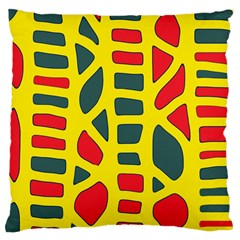 Yellow, green and red decor Large Cushion Case (Two Sides)