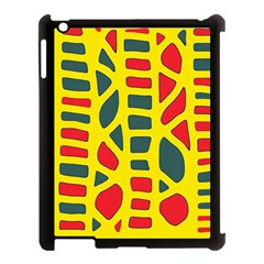 Yellow, green and red decor Apple iPad 3/4 Case (Black)