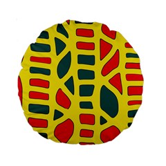 Yellow, green and red decor Standard 15  Premium Round Cushions