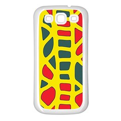 Yellow, green and red decor Samsung Galaxy S3 Back Case (White)