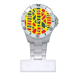 Yellow, green and red decor Plastic Nurses Watch