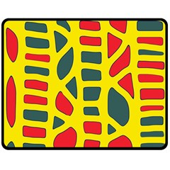 Yellow, green and red decor Double Sided Fleece Blanket (Medium)