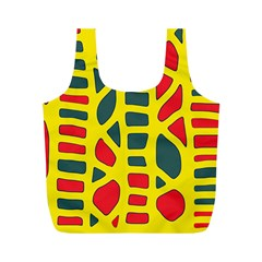 Yellow, green and red decor Full Print Recycle Bags (M)