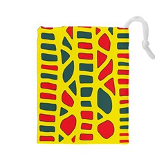 Yellow, green and red decor Drawstring Pouches (Large)