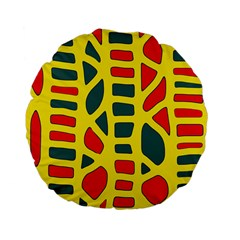 Yellow, green and red decor Standard 15  Premium Flano Round Cushions