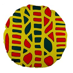 Yellow, green and red decor Large 18  Premium Flano Round Cushions