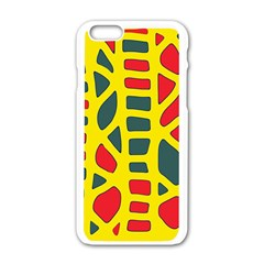 Yellow, green and red decor Apple iPhone 6/6S White Enamel Case