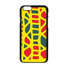 Yellow, green and red decor Apple iPhone 6/6S Black Enamel Case