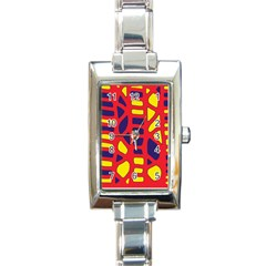 Red, yellow and blue decor Rectangle Italian Charm Watch