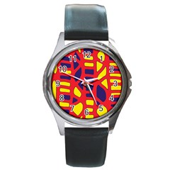 Red, yellow and blue decor Round Metal Watch