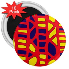 Red, yellow and blue decor 3  Magnets (10 pack)
