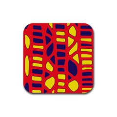 Red, yellow and blue decor Rubber Coaster (Square)