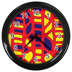 Red, yellow and blue decor Wall Clocks (Black)