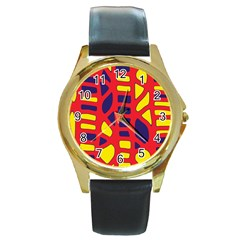 Red, yellow and blue decor Round Gold Metal Watch
