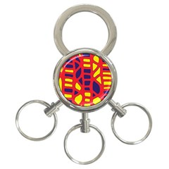 Red, yellow and blue decor 3-Ring Key Chains
