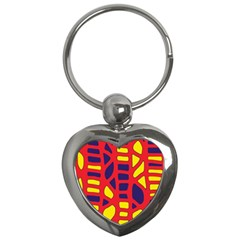 Red, yellow and blue decor Key Chains (Heart)