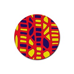 Red, yellow and blue decor Rubber Round Coaster (4 pack)