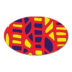Red, yellow and blue decor Oval Magnet