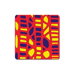 Red, yellow and blue decor Square Magnet