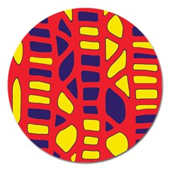 Red, yellow and blue decor Magnet 5  (Round)
