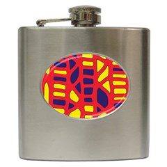 Red, yellow and blue decor Hip Flask (6 oz)