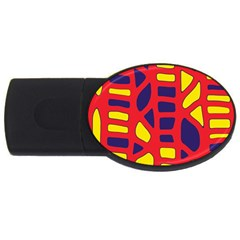 Red, yellow and blue decor USB Flash Drive Oval (2 GB)
