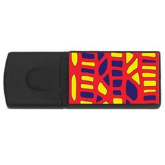Red, yellow and blue decor USB Flash Drive Rectangular (1 GB)