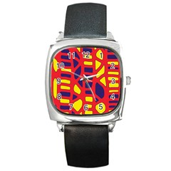 Red, yellow and blue decor Square Metal Watch