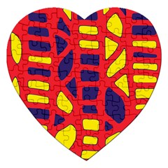 Red, yellow and blue decor Jigsaw Puzzle (Heart)